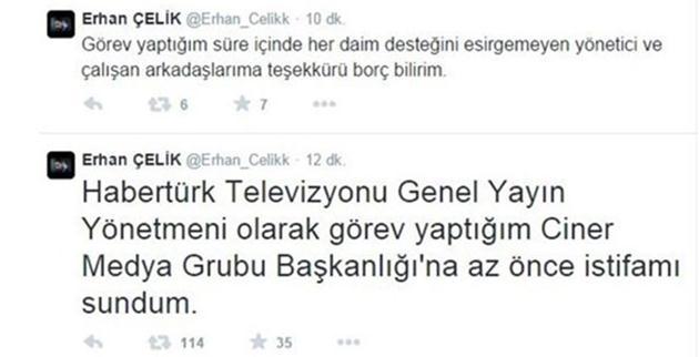 Konuyla ilgili kişisel Twitter hesabından bir açıklama yapan Erhan Çelik, 1 Ocak 2014'ten beri sürdürdüğü 'Habertürk Televizyonu Genel Yayın Yönetmenliği' görevinden istifasını Ciner Medya Grubu Başkanlığı'na sunduğunu belirtti. Çelik, sonraki yazısıyla da çalışma arkadaşlarına ve yöneticilerine görevi esnasındaki yardımları nedeniyle teşekkür etti.  GEÇTİĞİMİZ YIL EVLENMİŞTİ Erhan Çelik, geçtiğimiz yıl Eylül ayında sanatçı Gülben Ergen'le hayatını birleştirmişti.