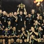Rugby Dünya Kupası'nı kazanan Yeni Zelanda takımı başarısını kutluyor.  Fotoğrafçı: MARTIN BUREAU Yer: Londra / İngiltere Tarih: 31 Ekim 2015