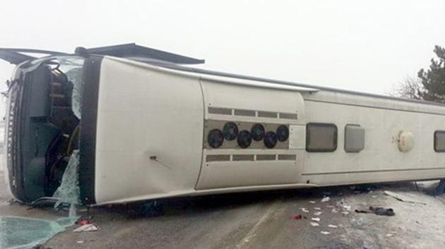 Ankara'da yolcu otobüsü devrildi: 15 yaralı